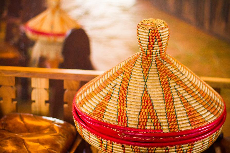 Traditional woven Ethiopian injera bread