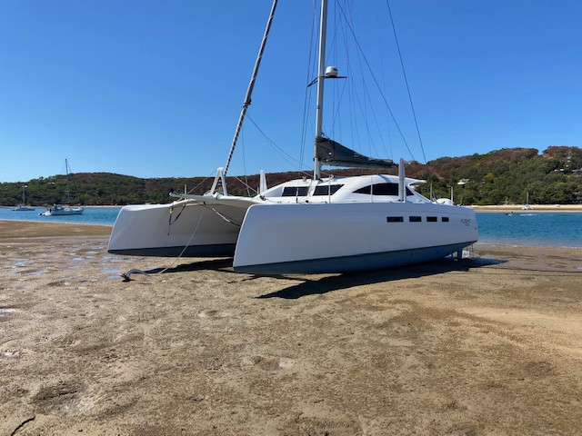 14M electric catamaran with Oceanvolt sail drives and lithium batteries plus solar power
