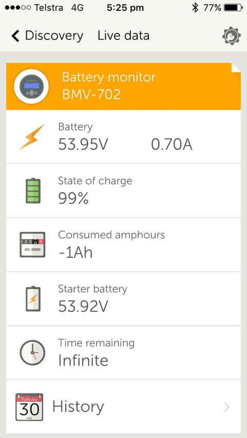 Phone app battery state