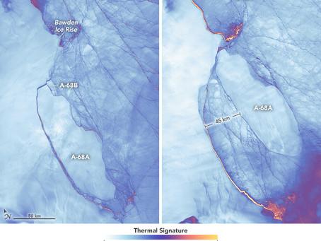Giant iceberg from Larsen C Ice Shelf stays close to home