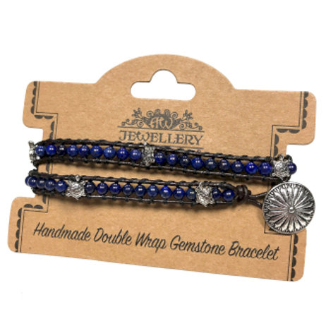 Double Wrap Bracelet - Turtles with Lapis