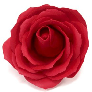 10x Craft Soap Flowers - Lrg Rose - Red