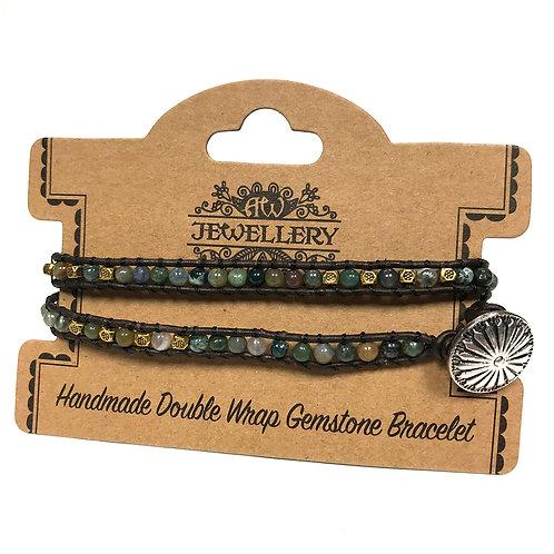 Double Wrap Bracelet - Multi Moss Agate
