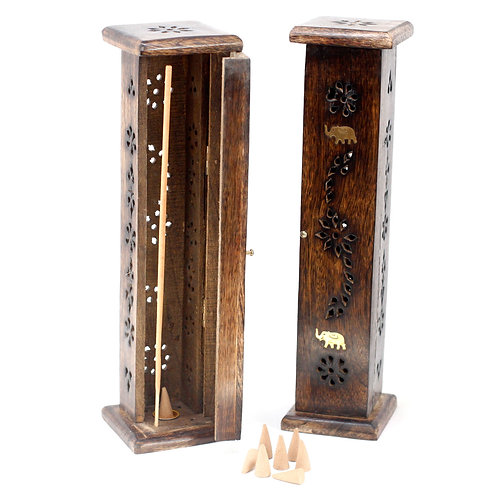 Square Incense Tower Brass Inlay Mango Wood with Elephants