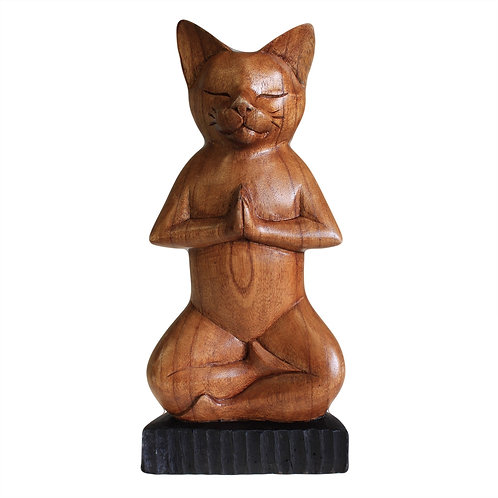 Handcarved Yoga Cat - Lotus