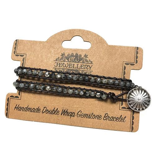 Double Wrap Bracelet - Grey Stone & Mini Globes