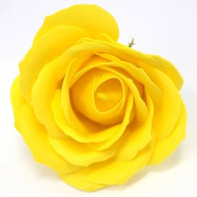10x Craft Soap Flowers - Lrg Rose - Yellow