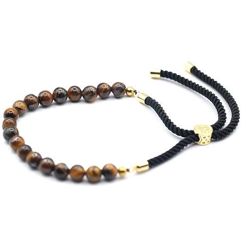 18K Gold Plated Gemstone Black String Bracelet - Tiger Eye