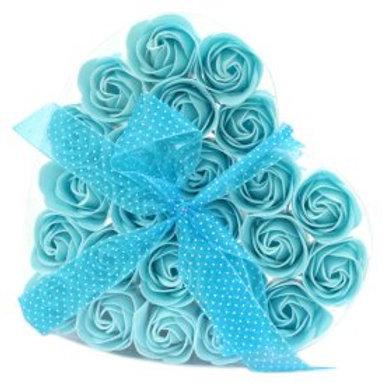 Set of 24 Soap Flower Heart Box - Blue roses