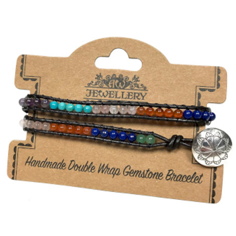 Double Wrap Bracelet - Multi Stone Chakra