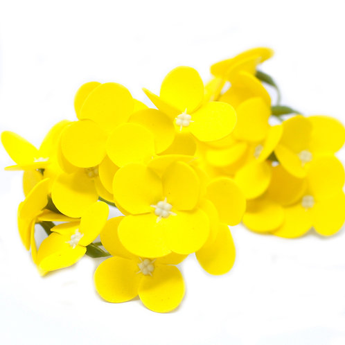 10x Craft Soap Flowers - Hyacinth Bean - Yellow