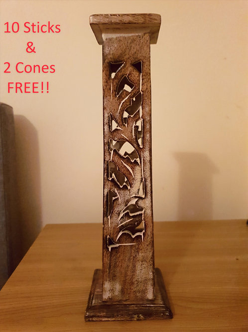 Tapered Square Incense Tower White Washed - Mango Wood