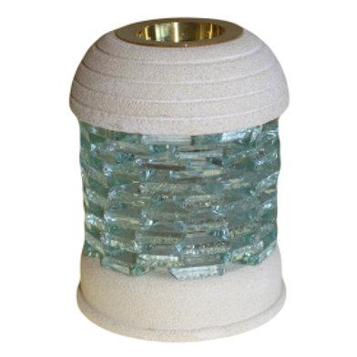 Stone Oil Burner - Round Glass Brick