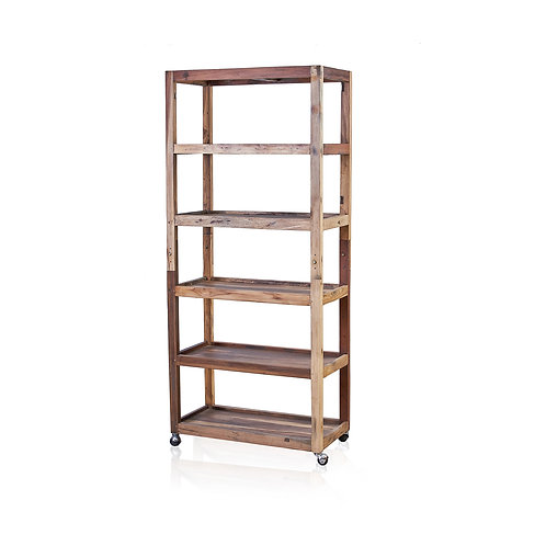 Six Shelf Display with Casters - Recycled Wood