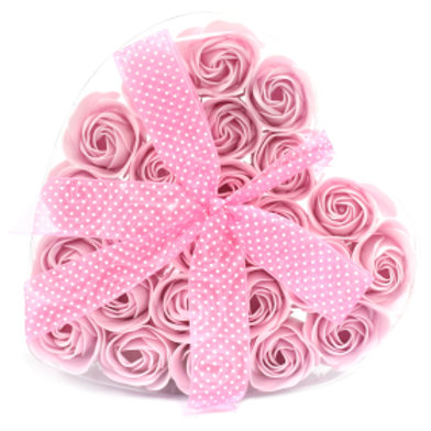 Set of 24 Soap Flower Heart Box - Pink Roses