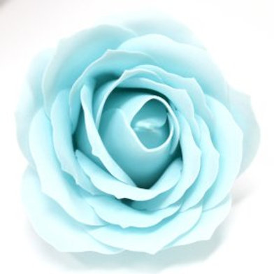 10x Craft Soap Flowers - Lrg Rose - Baby Blue