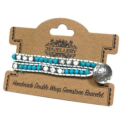 Double Wrap Bracelet - Turquoise & White Agate