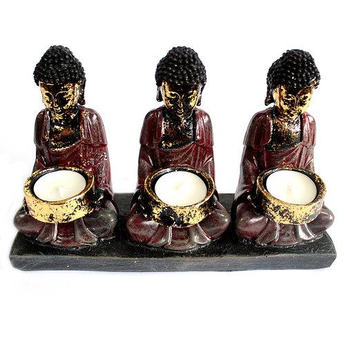 Antique Buddha - Three Devotees Candle Holder