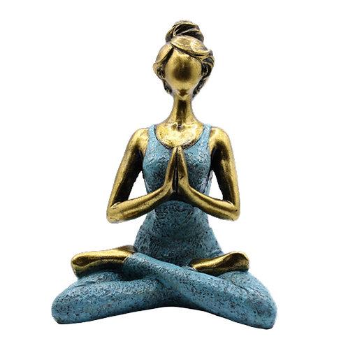 Yoga Lady Figure - Bronze & Turqoise 24cm