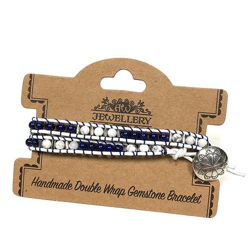 Double Wrap Bracelet - Navy Style with Lapis