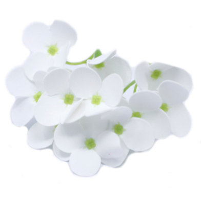 10x Craft Soap Flowers - Hyacinth Bean - White
