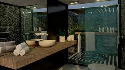 Εσωτερική διαμόρφωση μπάνιου με αίθριο