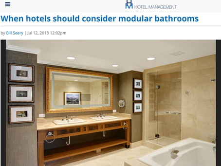 Hotel Management Article – When hotels should consider modular bathrooms