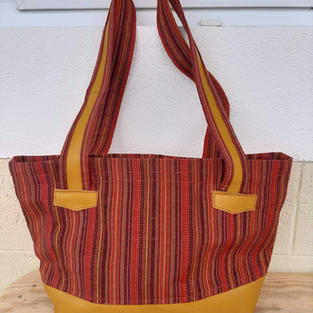 Red and Tan Leather Bag $40