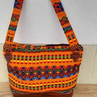 Orange and Brown Leather Bag $40