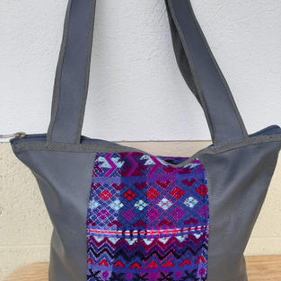 Purple and Grey Leather Bag $40