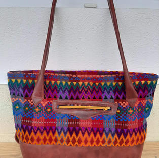Multi-colored and Brown Leather Bag $40