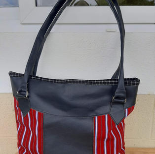 Red and Black Leather Bag $40