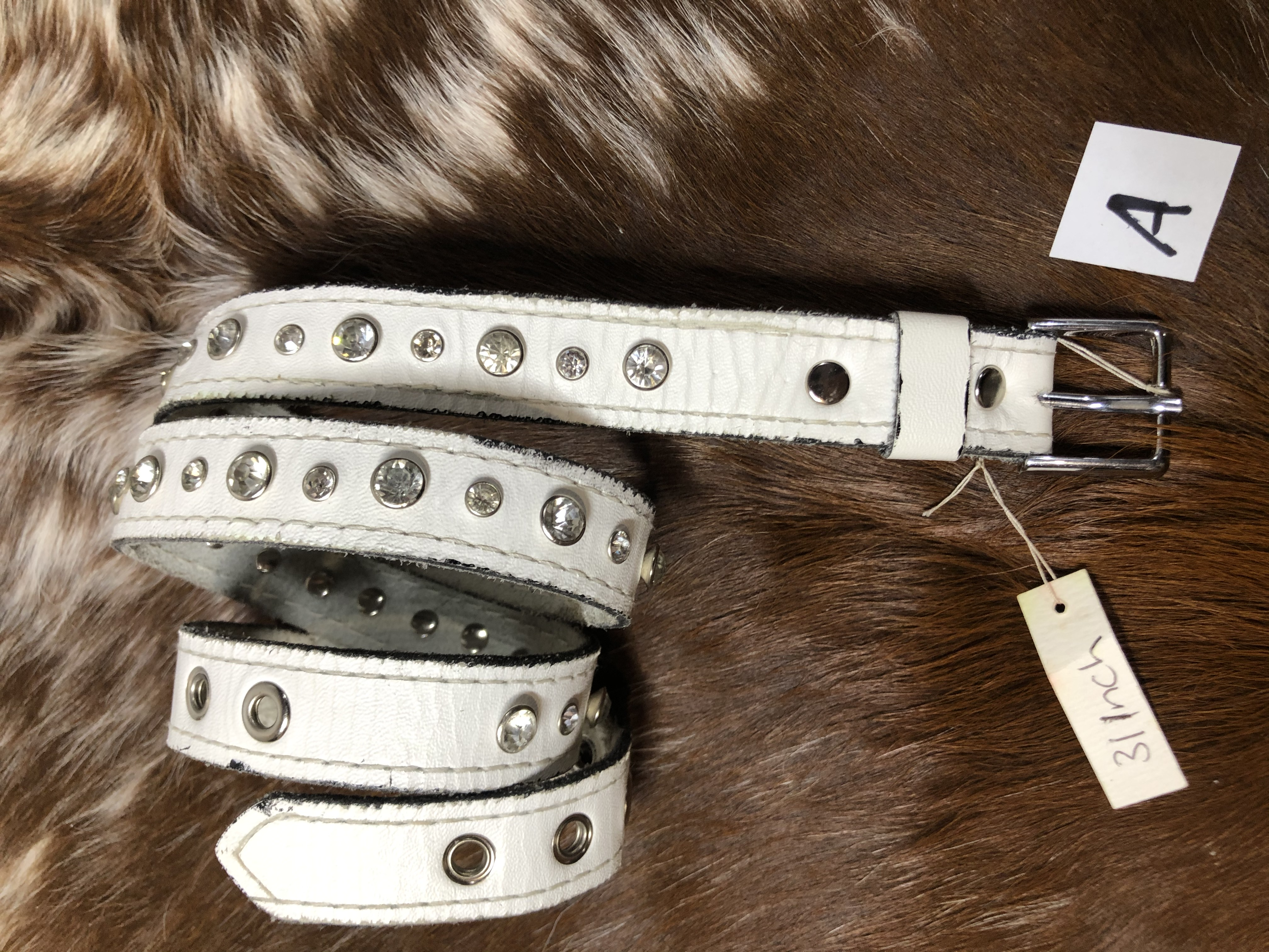 "31""x 1"" White Bling Belt"