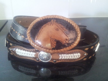 Leather carved Belt Buckle & Belt