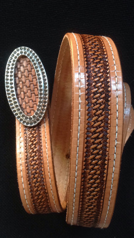 Tooled Belt and Buckle