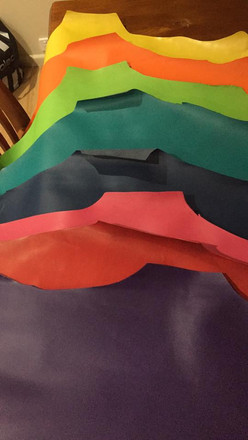 coloured Kangaroo hides for handles
