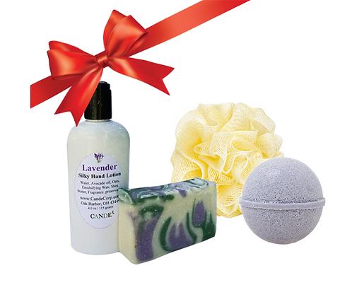 Mini Spa Gift Set (Lotion, Soap, Bath Sponge & Bath Bomb)