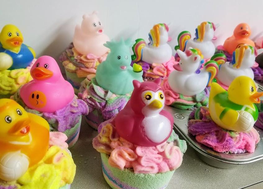 ducky cupcake bath bombs