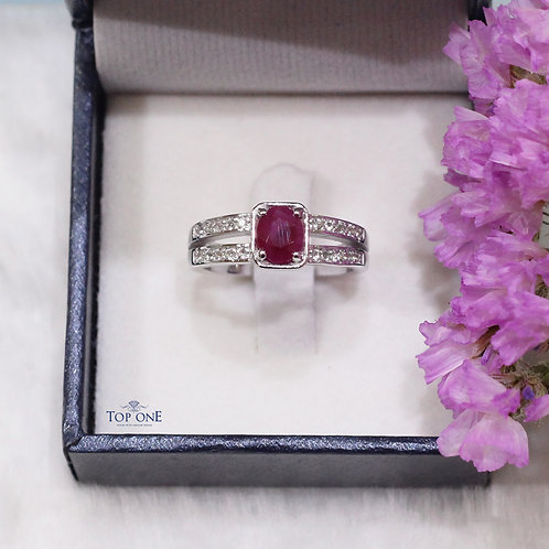 Natural Ruby White Topaz 925 Sterling Silver Ring