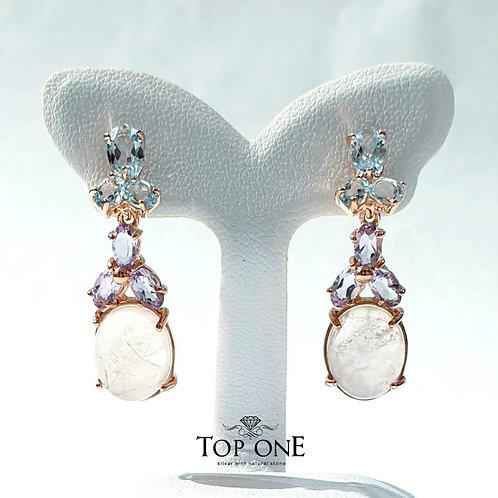 Natural Rose Quartz Blue Topaz Amethyst 925 Sterling Silver Earring