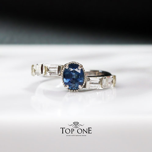 Natural Blue Sapphire 925 Sterling Silver Ring