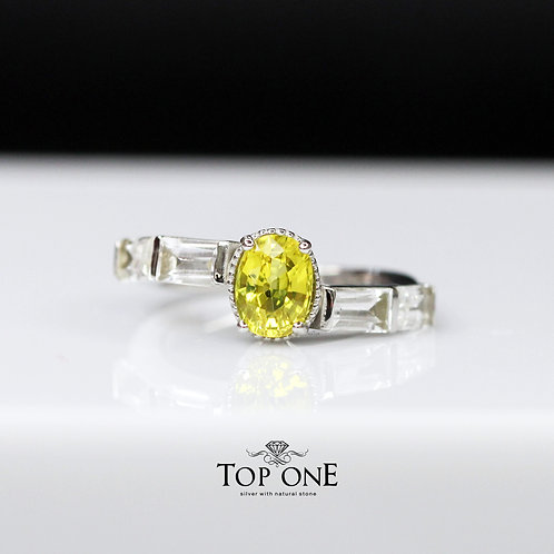 Natural Lomon Yellow Sapphire925 Sterling Silver Ring
