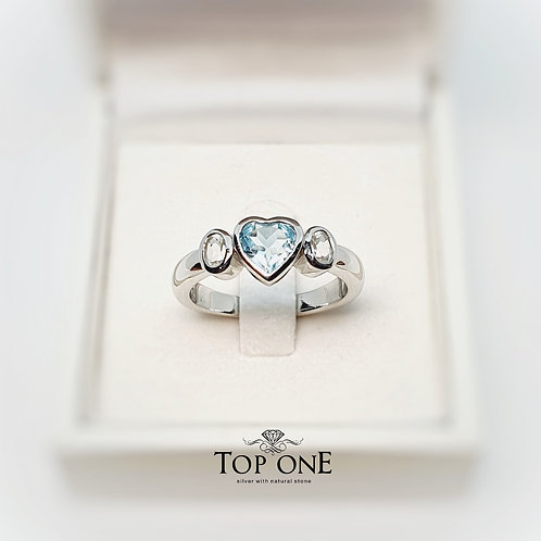 Natural BlueTopaz with WhiteTopaz 925 Sterling Silver Ring