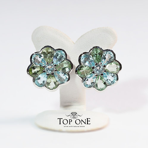 Natural Sky Blue Topaz and Green Tourmaline 925 Sterling Silver Earring