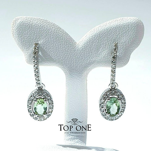 Natural Green Tourmaline 925 Sterling Silver Earring