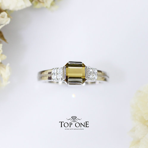 Natural Yellow Tourmailne  925 Sterling Silver Ring