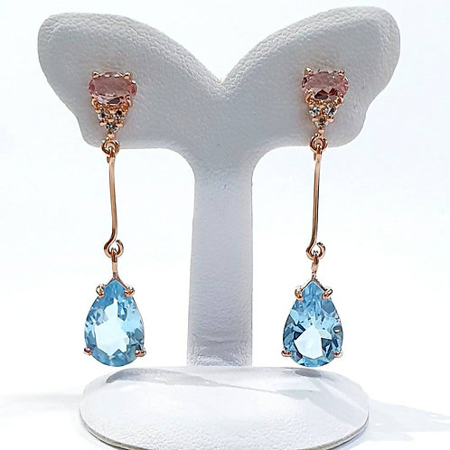 Natural Blue Topaz Pink Tourmaline 925 Sterling Silver Earring