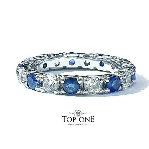 Ferris Natural Blue Sapphire White Topaz 925 Sterling Silver Ring