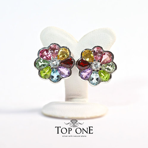 Natural Multi Color Stone 925 Sterling Silver Earring