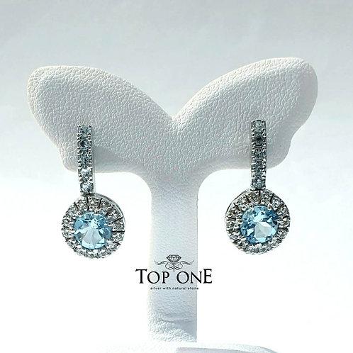 Natural Sky Blue Topaz White Topaz 925 Sterling Silver Earring